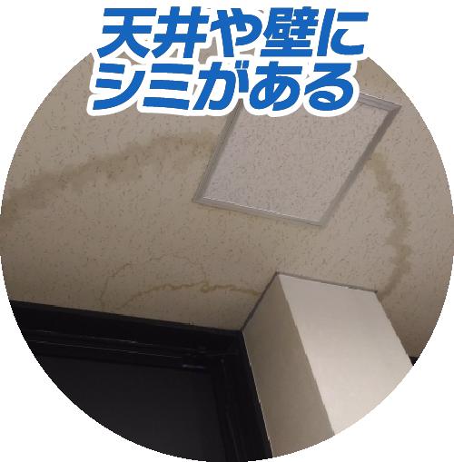 天井や壁にシミがある