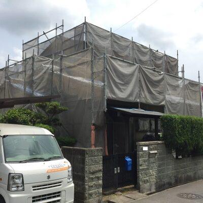 浅口市鴨方町 K様邸 屋根葺き替え・外壁塗装 足場設置
